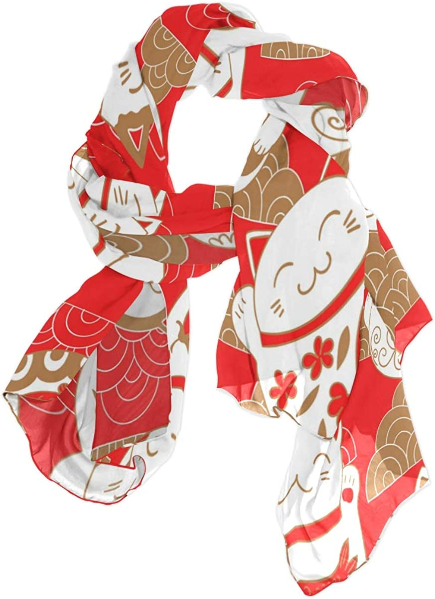 Use4 Chinese Cat Kitten Animal Cloud Sha Long Scarf All stores are discount sold Chiffon Silk