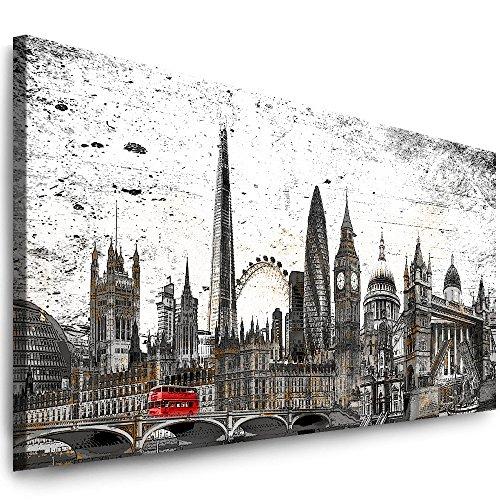 Julia-Art Leinwandbilder - 80 mal 30 cm Panorama Bild London Stadt Skyline - Wandbild fertig gerahmt - Kunstdruck XXL Leinwand - Verschiedene Varianten Lo-01-1