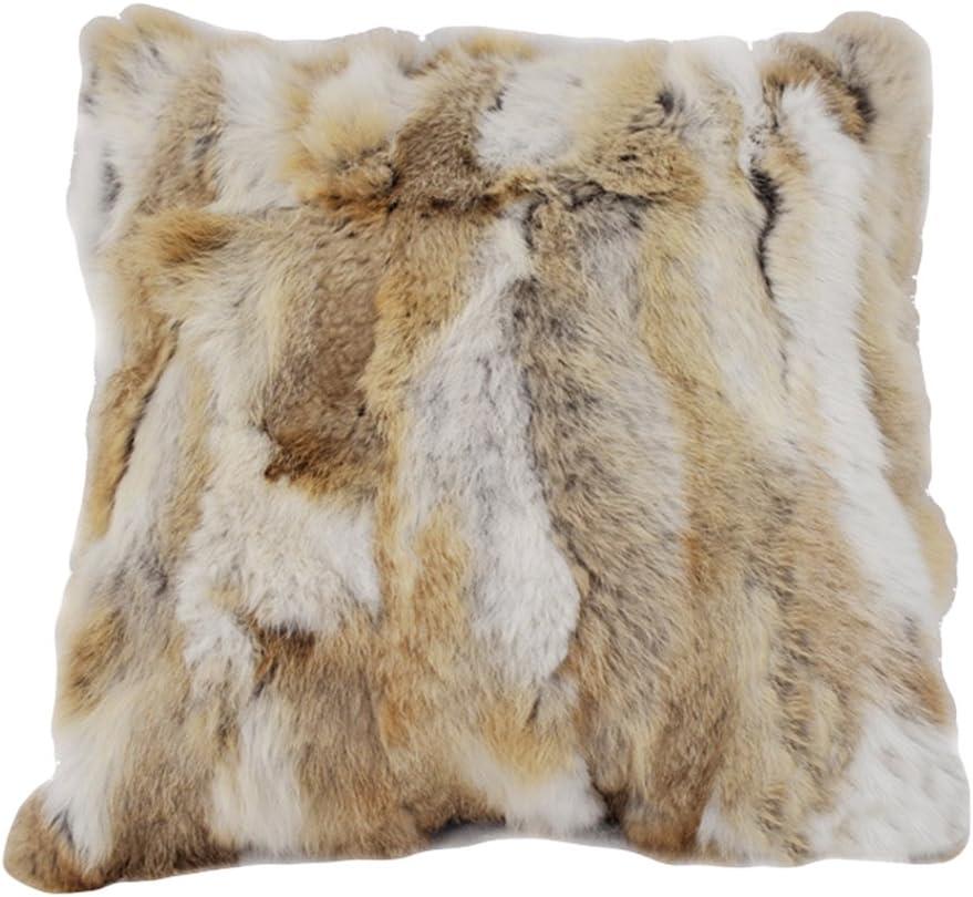 duoduo fur real rabbit fur decorative throw pillow case fur pillow cover light brown