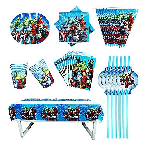 PPuujia Suministros de fiesta de cumpleaños Los Vengadores Baby Shower Decoración de Cumpleaños Establece Banner Bolsa de Paja Taza Plato Mantel Suministros para Niños (Color: Azul)