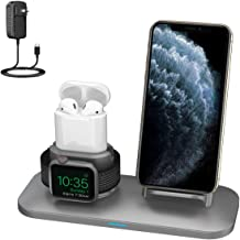 SimJoy Wireless Charger,3 in 1 Wireless Charger Station for AirPods 2/1 and iWatches 5/4/3/2/1, Qi Fast Wireless Charger Compatible with iPhone11/11Pro Max/XR/XS Max/XS/X(Built-in iWatch Charger)