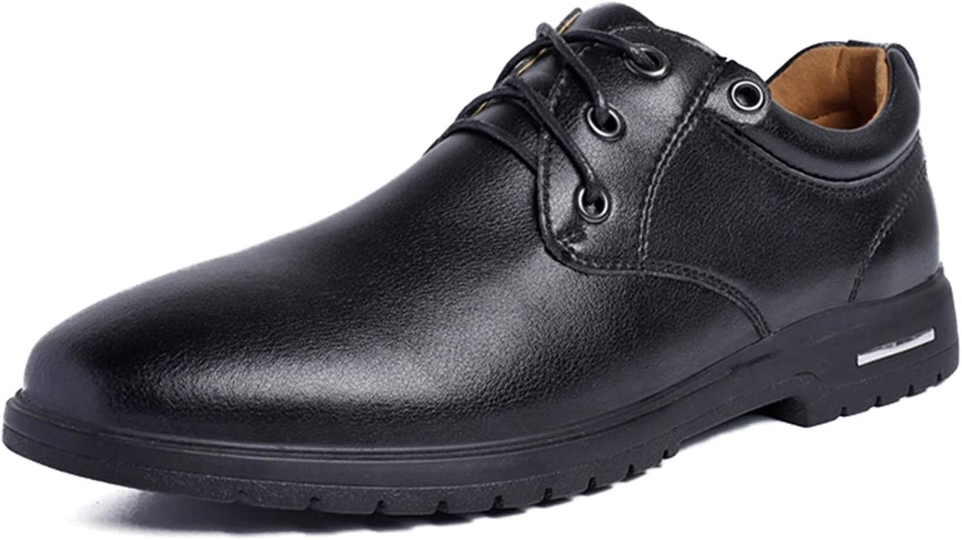 Men's Casual Shoes, Oxford Cloth Leather Lace-up Round Toe Shoes, Can Be Sewn with Solid Colors and Elastic Men's Casual Shoes (Color : Black, Size : 39 EU)