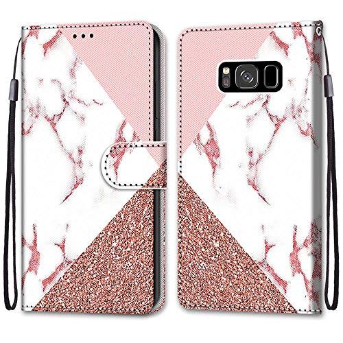 Nadoli Handyhülle Leder für Samsung Galaxy S8,Bunt Bemalt Rosa Marmor Trageschlaufe Kartenfach Magnet Ständer Schutzhülle Brieftasche Ledertasche Tasche Etui