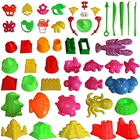 MUKOOL Sand Molding Toys Activity Sand Art Kits 46pcs Deluxe Kinetic Mold for Play 2,3,4,5 Pounds Blue Molding Sands