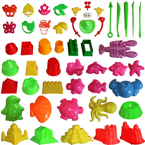 MUKOOL Sand Molding Toys Activity Sand Art Kits 46pcs Deluxe Kinetic Mold for Play 2345 Pounds Blue Molding Sands