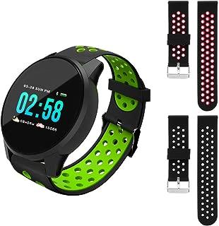 Redlemon Smartwatch Sport Bluetooth con Pantalla Táctil a Color, Resistente al Agua, 3 Correas, Notificaciones, Podómetro, Monitor de Ritmo Cardiaco, Presión Arterial y Oxímetro, Calorías y Distancia