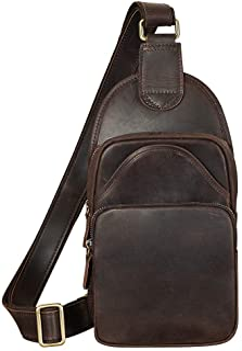TIDING Vintage Leather Sling Chest Bag Casual Shoulder Daypacks for Men