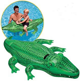Crocodile Inflatable Pool Float, Hamkaw Rideable Pool Floats Swim Mat Pool Float Toy for Party Pool Supplies Favors Birthday Gifts for Kids and Adults