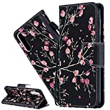ISADENSER Samsung Galaxy A50 Protection Case for Girls Cute Animal Flip Case PU Premium Leather Shockproof Slim Case Cover with Card Holder for Samsung Galaxy A50 Chinese Plum Blossom HX