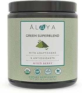 Alaya Organic Super Greens Powder - Premium Green Juice Superfood Supplement Powder - Adaptogens, Antioxidants & Probiotics Blend - USDA Organic, Non-GMO, Vegan - 30 Serv - Mixed Berry