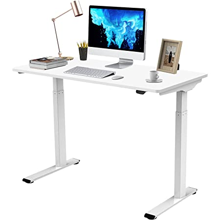 """Flexispot Quick Install Standing Desk EC9 Electric Height Adjustable Desk for Home Office 48 x 24 Inches Sit Stand Desk Whole-Piece Desk Board VICI(White Frame + 48"""" White Top)"""