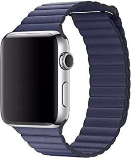 Leather Adjustable Magnetic Closure Wrist Loop Band Strape for 42mm Apple Watch,Blue