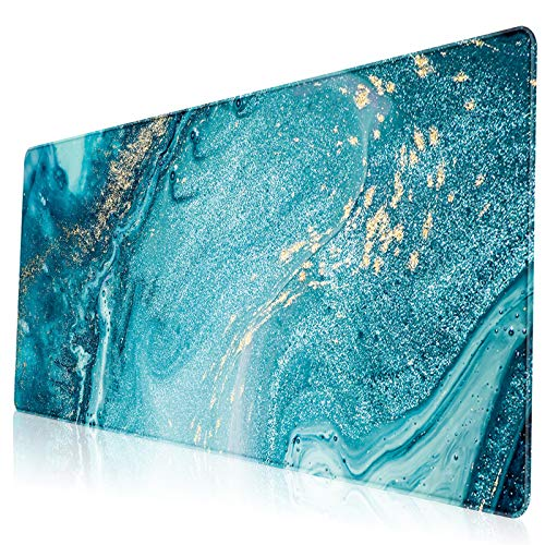 VESMATITY XXL Extended Mouse Pad Gaming Mouse Pads with Stitched Edges Computer Full Desk Large Mouse Pads Non-Slip Base Desk Mat for Gaming and Office (31.5x11.8x0.12In, Blue Marble Gold)