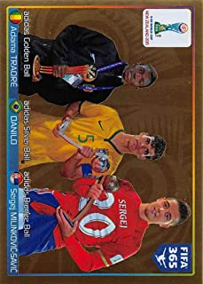 2015-16 Panini FIFA 365 Stickers Soccer #53 Golden Ball/Adama Traore/Silver Ball/Danilo/Bronze Ball/Sergej Milinkovic-Savic Trading Card Sized Album Sticker Golden shiny