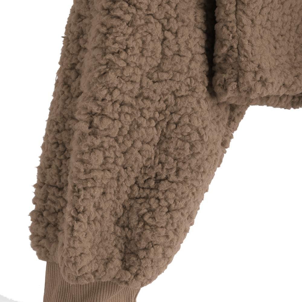 ZAFUL Women's Long Sleeve Hoodie Faux Fur Solid Color Crop Pullover Sweatshirt Tops