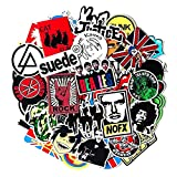 100PCS Rock and Roll Music Stickers Pack Vinyl Waterproof Stickers for Electronic Organ Guitar Piano Violin Drum kit Flute Brass Decals and Stickers for Laptop Skateboard Luggage