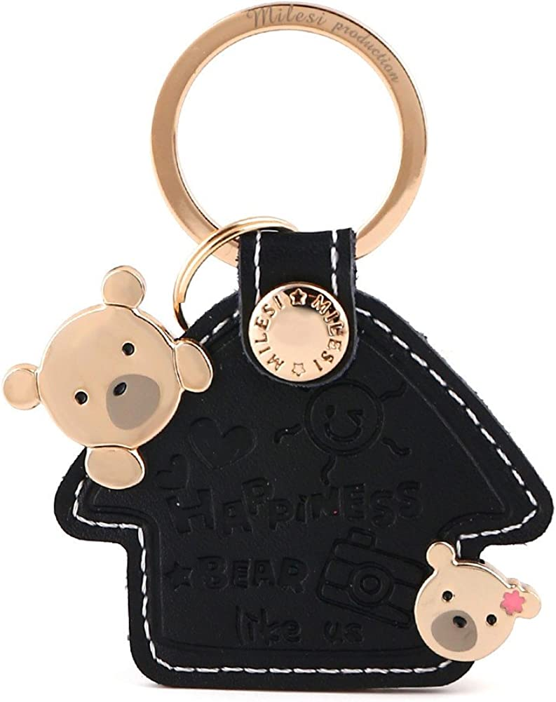 MILESI Sweet Home Key Pendant Small Lucky Leather Keychain