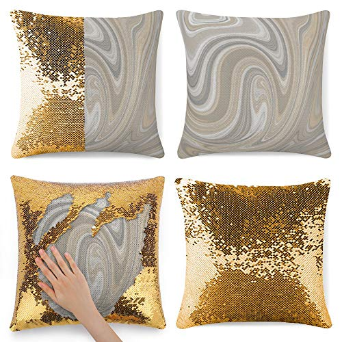 Tamengi Sequin Pillow Cover, Beige and Gray Abstract Swirls Round, Zipper Pillowslip Pillowcase, Decorations for Sofas, Armchairs, Beds, Floors, Cars