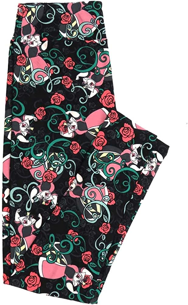 Lularoe One Size OS Disney Queen of Hearts Roses Black Gray White Pink from Alice in Wonderland Buttery Soft Womens Leggings fit Adult Sizes 2-10 OS-4356-AA