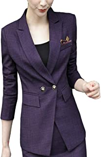 Women Plaid Two Button Long Sleeve Blazer and Skirt Suit Set