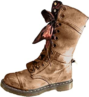 Women Vintage Ribbon Lace up Round Toe Mid Calf Boots Soft Wear Stylish Platform Combat Booties by Lowprofile