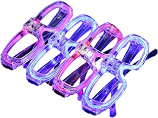YHomU LED Glasses Funny Plastic 4 Pairs Decorative Voice Control Glow Eyeglasses Party Eyewear Flashing Reusable Fashion L...