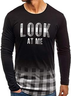 Men Autumn Casual Printed Plaid Blouse O-Neck Long Sleeve Sweatshirt Tops Shirt