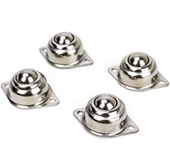 """HUELE 4Pcs 1/2"""" Stainless Steel Roller Ball Transfer Bearings, 88 lbs Screw Mounted Round Ball Transfer Units Universal Rotation Ball Casters"""