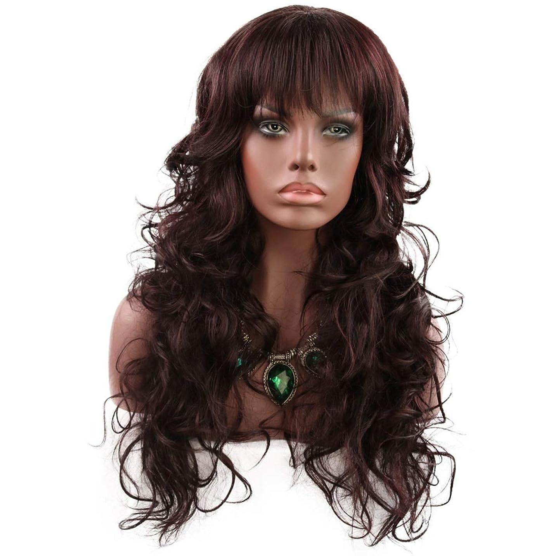 休戦代表する深くKoloeplf レディースロングカーリーフラットバンズヘア仮装パーティー小道具ライト耐熱ワイヤー合成ウィッグ (Color : Dark brown, サイズ : 190-210cm)