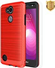LG Xpower 2 Case, LG X Charge Case, LG Fiesta LTE Case, LG K10 Power Case with Tempered Glass Screen Protector Non-Slip Texture Slim for Boys Girls for Men Women Red
