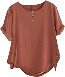 cutemom Women's T-shirt Women Casual Fashion Round Neck Buttons Cotton and Linen Short Sleeve Solid Tops Blouse Sexy Elegant Vintage Top Shirt Fit Comfy Tunic