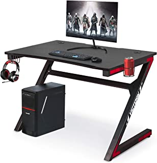 Computer Gaming Desk with Large Carbon Fiber Surface Cup Holder & Headphone Hook for Home or Office, Gaming PC Desk Table (Red)