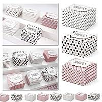 Quantità:30scatole (3modelli per 10scatole) Dimensioni:6x 5,5x 4cm. Scatole regalo piccole per ogni occasione. Con le scatole regalo piccole Sweets, possono essere confezionati piccoli dolci in modo rapido e semplice con stile. Le scatole che m...