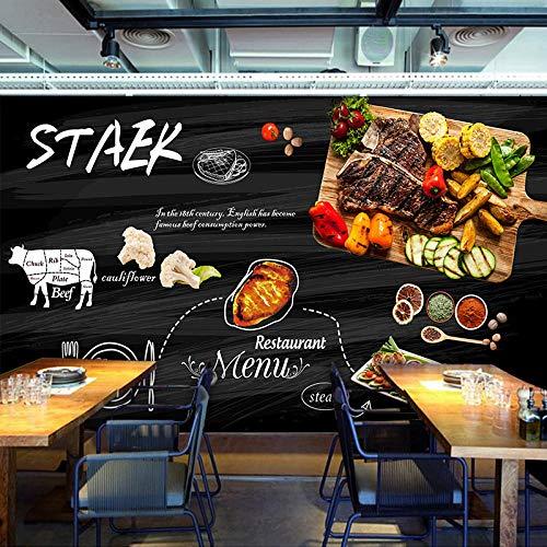 CQDSQN Wandaufkleber Steak-Rindfleisch des Restaurants gegrilltes Fleisch der westlichen Art Tapete Wandgemälde PVC 3D Selbstklebend Modern Kunst Poster Fotos Thema Szene Wandgemälde Zu(B)500x(H)375cm