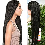 3X Micro Box Braids Front Lace Wigs 14 32inch Box Baided Wigs Bob Style Lace Front Wig Ombre 350 Purple Bob Braided Lace Wig With Baby Hair Synthetic Heat Resistant Box Braids Wigs (32inch, 1b)
