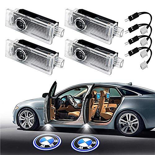 4PCS Auto-Tür-Licht-Projektor-Licht Willkommen Schatten-Licht-Auto-Logo-Birne Kit Kompatibel mit Jagua for BWM,Weiß