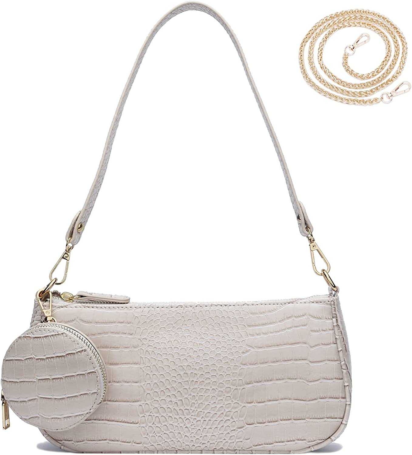 KKXIU Retro Small Shoulder Crossbody Clutch Bag for Women with 2 Removable Straps and Coin Purse