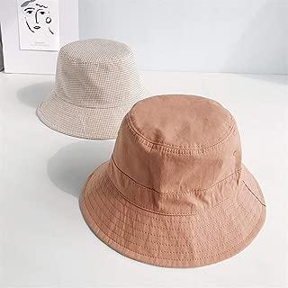SHENTIANWEI Plain Plaid Double-Sided hat Female Sun hat Lovers Shopping hat Korean Tidal Wild Xia Jiqiu (Color : Caramel, Size : One Size)