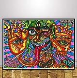 tgbhujk Schwarzlicht Gemälde Psychedelisch Abstrakte Kunst Trippy Poster Wandkunst Bild Poster und Drucke Leinwand Malerei Room Home Decor 50 * 75 Ohne Rahmen