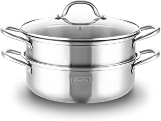 HYTX Stainless Steel 3-Piece 5.8-Quart 2-Tier Pasta/Steamer Set with Tempered Glass Lid and Double Handles - Easy to Clea...