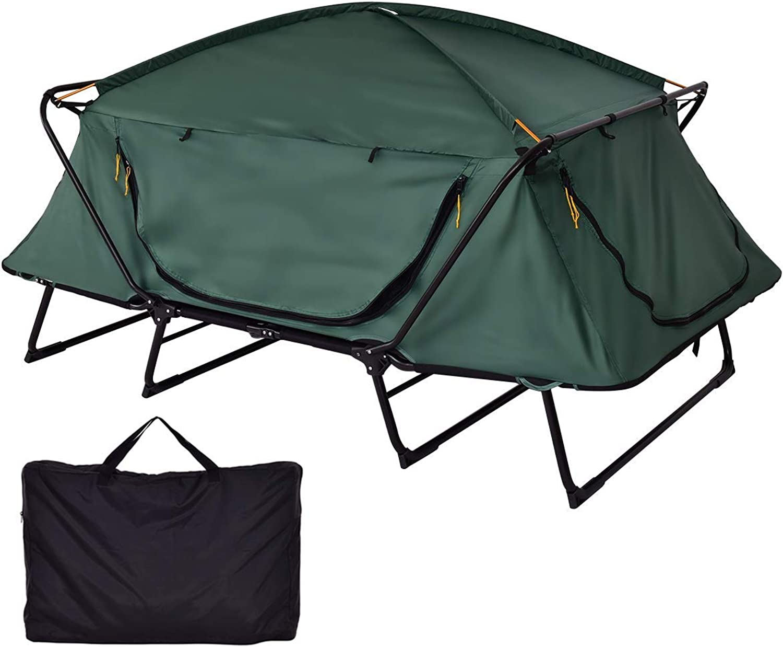 HWENK Zelt Kinderbett, 2 Personen Faltbare Camping wasserdichte Schutzhülle mit Fenster Tragetasche für Outdoor-Freizeit Klapp Angeln Dach aus dem Boden Zelt
