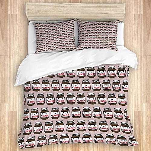 SUHETI Bettwäsche Set,Leckere Nutella,1 Bettbezug 135x200cm+2 Kopfkissenbezug 50x80cm