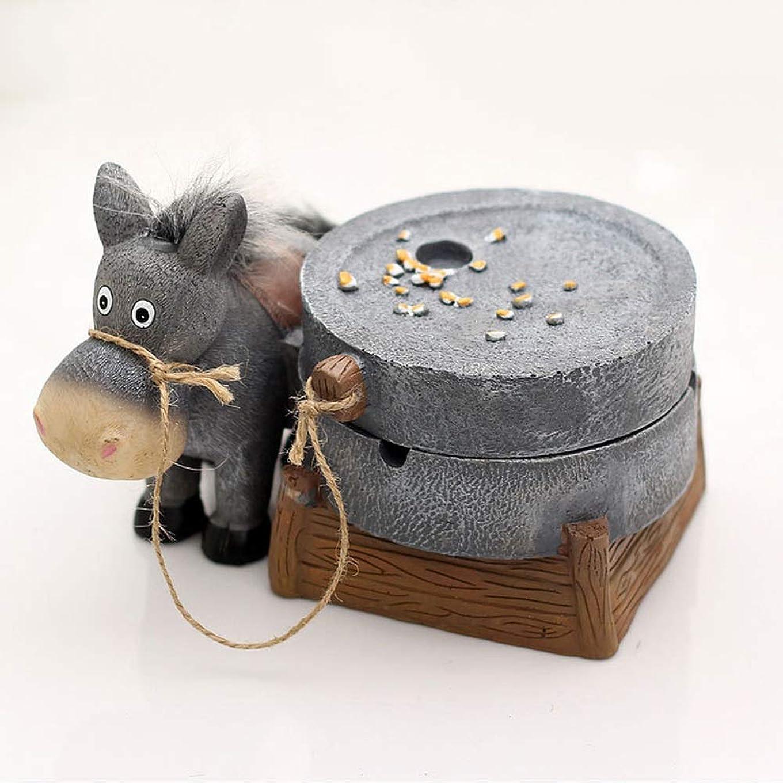 ゴールデン閃光財団ロバの引きの粉砕の樹脂の灰皿、創造的な屋外の灰皿のふた