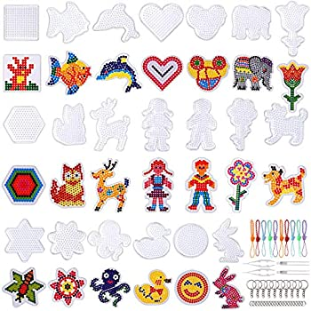 20 Pieces 5mm Fuse Beads Pegboards Clear Plastic Pegboards Craft Tray with 20 Pieces Colorful Cards 4 Pieces White Beads Tweezers 10 Keychains 10 Hang Ropes 20 Hang Circle for Kids DIY Craft Beads