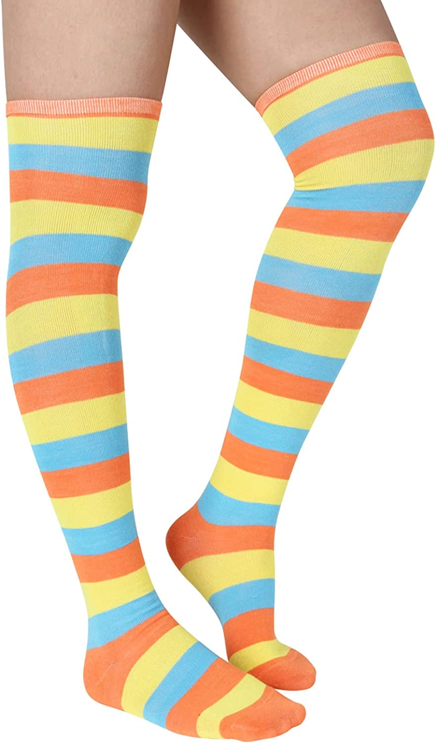 Womens Max 45% Special price OFF Striped Thigh Highs Socks Colorful Novelty Cotton Girls O