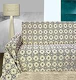 Funda para sofá de algodón de 1, 2, 3 y 4 plazas, de 180 x 275 cm, con diseño de vitros, color beige