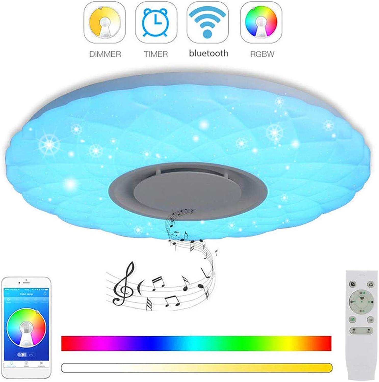 SHELLTB LED-Musik-Deckenleuchte mit Blautooth-Lautsprecher Lautsprecher mit hoher Klangqualitt, dimmbare Moderne Deckenleuchte zur Unterputzmontage, RGB-Farbwechsel Family Party Lights,DIA38CM24W