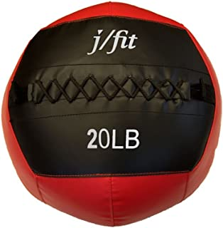 j/fit Soft Wall Ball, Medicine Ball, Strength & Conditioning WODs - Plyometric & Core Training, Cardio Workouts for Muscle Building, Balance - Ideal for Squats, Lunges, Partner Toss, Slam (6, 8, 10, 12, 15, 18, 20, 25, and 30lbs)