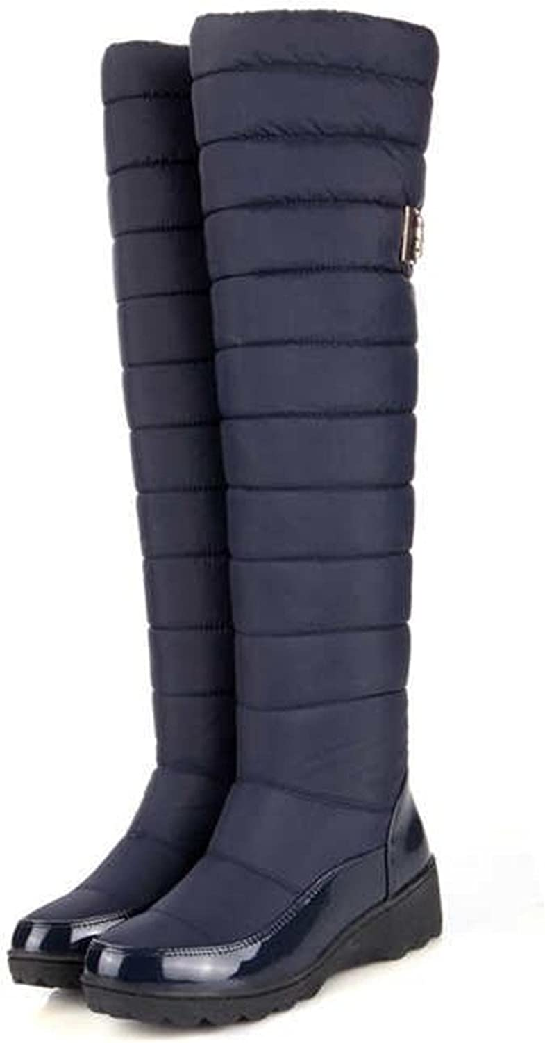 Women Warm Knee High Boots Round Toe Down Fur Ladies Fashion Thigh Snow Boots shoes Waterproof Botas
