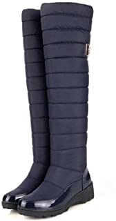 Russia Winter Boots Women Warm Knee High Boots Round Toe Down Fur Ladies Fashion Thigh Snow Boots Shoes W